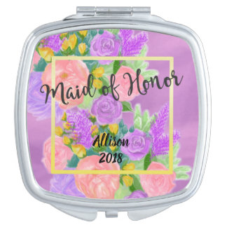 Personalized Maid of Honor Purple Floral Mirror