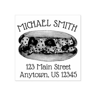 Personalized Maine Lobster Roll Sandwich Address Rubber Stamp