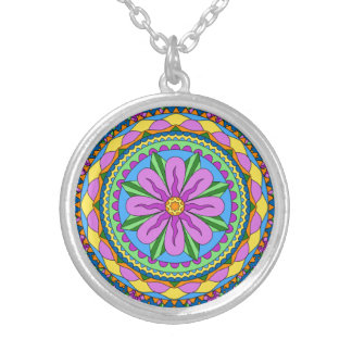 Personalized Mandala lace Silver Plated Necklace