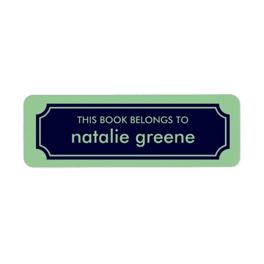 Personalized Mansard Bookplate Label, Navy / Green