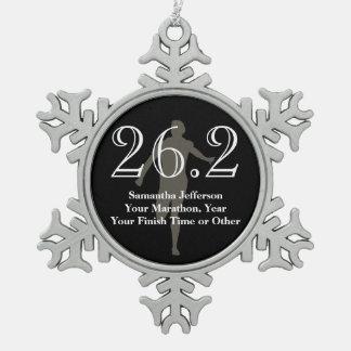 Personalized Marathon Runner 26.2 Keepsake Medal Pewter Snowflake Ornament