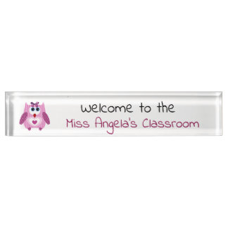 Personalized Maroon Baby Owl Name Plate Sign