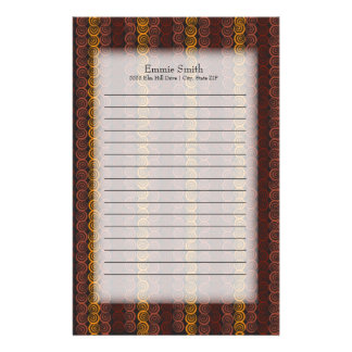 Personalized Maroon Orange Earth Tone Circles Stationery