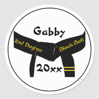 Personalized Martial Arts 2nd Degree Black Belt Round Sticker