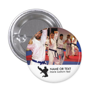Personalized Martial Arts Karate Photo & Name 1 Inch Round Button