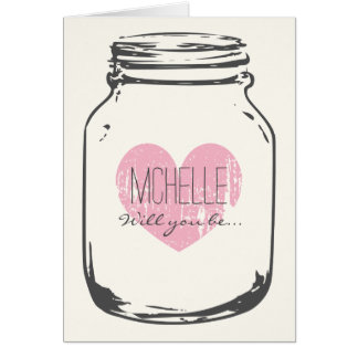 Personalized mason jar bridesmaid request cards