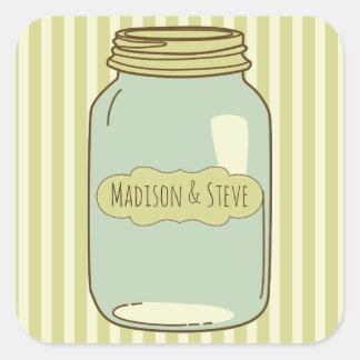 Personalized Mason Jar Stickers Pale Green Stripes