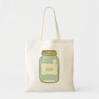 Personalized Mason Jar Tote Bag Ivory Label
