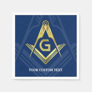 Personalized Masonic Napkins | Navy Blue Gold Disposable Napkins