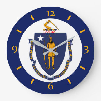Personalized Massachusetts State Flag Design on Large Clock