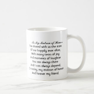 """Personalized """"Matron of Honor"""" Mug with poem"""