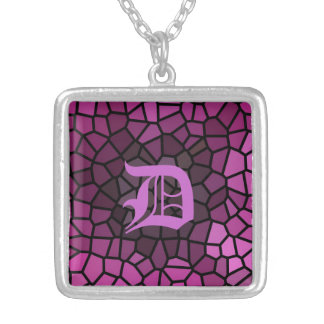 Personalized Medieval Fantasy Purple Mosaic Silver Plated Necklace