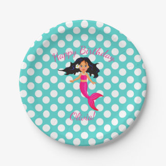 Personalized Mermaid and Polka Dot Paper Plates