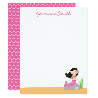 Personalized Mermaid Stationery | Black Hair-Pink Card