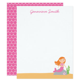 Personalized Mermaid Stationery | Red Hair | Pink Card