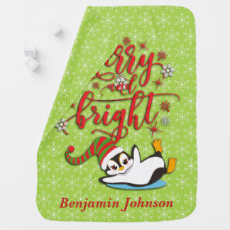 Personalized Merry & Bright Penguin Baby Blanket