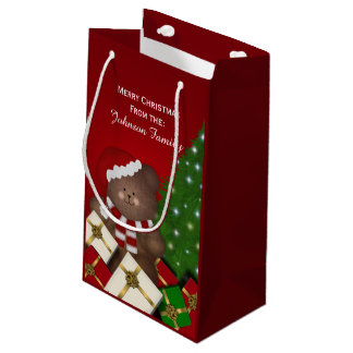 Personalized Merry Christmas Bear Gift Bag