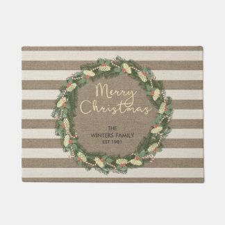 Personalized Merry Christmas burlap stripe wreath Doormat
