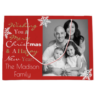 Personalized Merry Christmas & Happy New Year Large Gift Bag