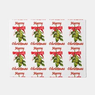 personalized Merry Christmas mistletoe Doormat