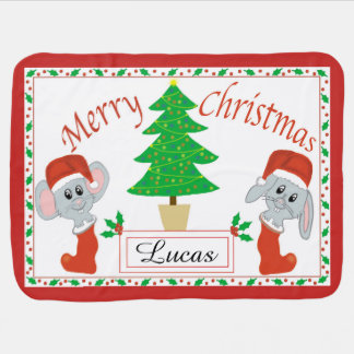 Personalized Merry Christmas Mouse Fleece Blanket
