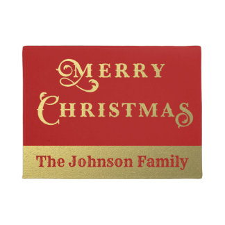Personalized Merry Christmas Red and Gold Welcome Doormat