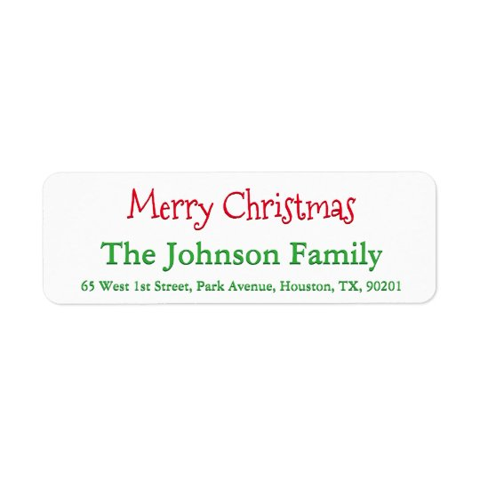 Personalized Merry Christmas Return Address Label