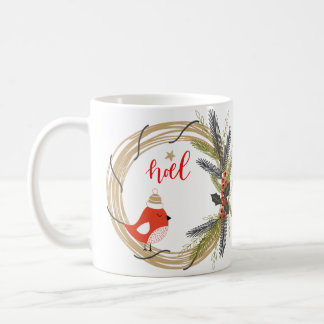 Personalized Merry Christmas Santa and Wreath Coffee Mug