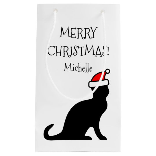 Personalized Merry Christmas Santa cat Holiday Small Gift Bag