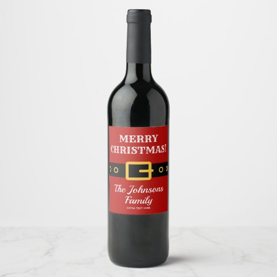 Personalized Merry Christmas Santa Claus suit wine Wine Label