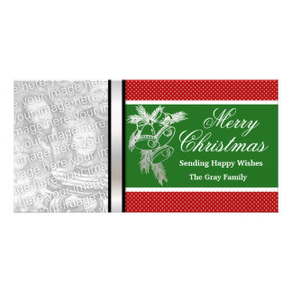 Personalized Merry Christmas Silver Bells Green Card