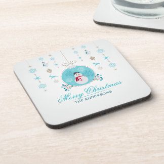 Personalized Merry Christmas Snowman | Coaster