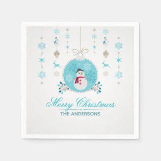 Personalized Merry Christmas Snowman | Napkin Disposable Napkins