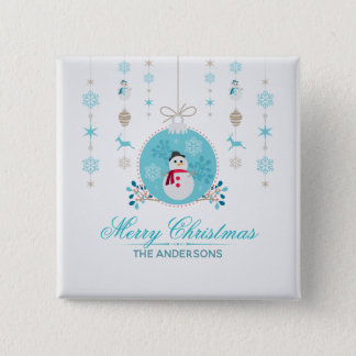 Personalized Merry Christmas Snowman Pin Button