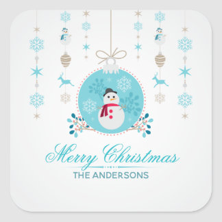 Personalized Merry Christmas Snowman Sticker