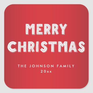 Personalized Merry Christmas Square Red Stickers
