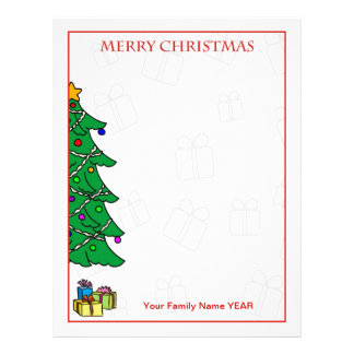 Personalized Merry Christmas Tree Letterhead