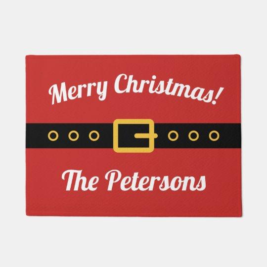 Personalized Merry Christmas welcome door mat