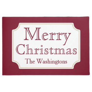 Personalized Merry Christmas Welcome Doormat Rug