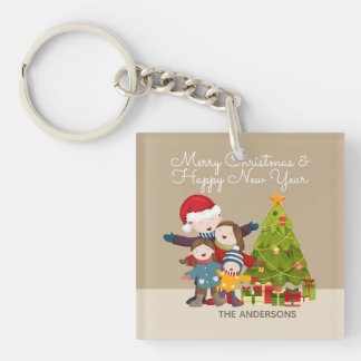 Personalized Merry Family Christmas Keychain