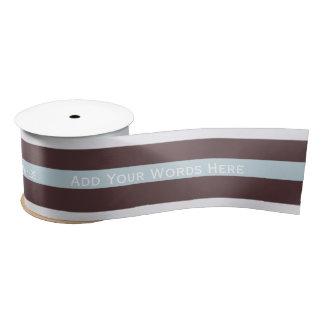 Personalized Message: Blue, Brown & White Ribbon Satin Ribbon