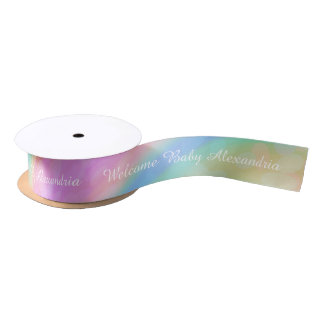 Personalized Message: Rainbow Welcome Baby Ribbon Satin Ribbon