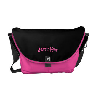 Personalized Messenger Bag, Any Name, Pink & Black Courier Bag