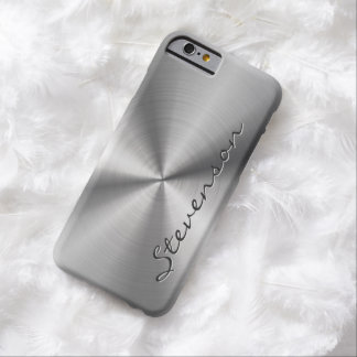 Personalized Metallic Radial Stainless Steel Look Barely There iPhone 6 Case