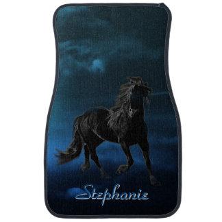 Personalized Midnight Black Stallion Car Mat
