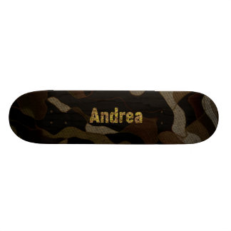 Personalized Military Camouflage Font Andrea Skateboard Decks