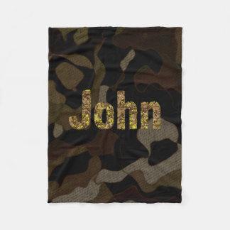Personalized Military Camouflage Font John Fleece Blanket