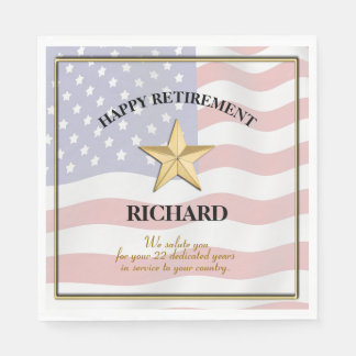 Personalized Military Retirement Party Paper Napkin