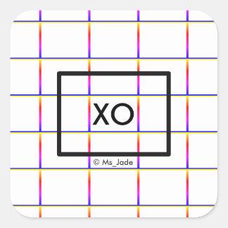 Personalized Minimalist Check Window Pane Pattern Square Sticker
