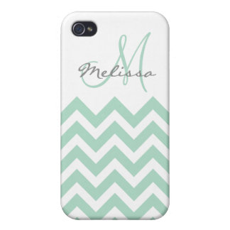 Personalized Mint Blue Chevron Case For The iPhone 4